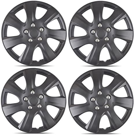 BDK Matte Black Hubcaps Wheel Covers for Toyota Camry 2006-2014 (16 inch) – Four (4) Pieces Corrosion-Free & Sturdy – Full Heat & Impact Resistant ...