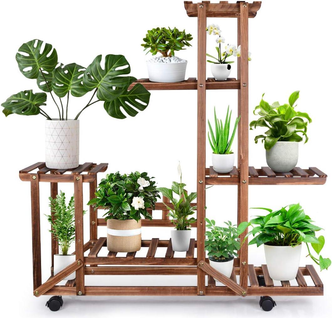 Pine Wood Plant Stand Indoor Outdoor, 5 Tier Flower Plant Display Shelf with Detachable Wheels, Tiered Plant Rack for Garden Balcony Patio Living Room Office (10-12 Flowerpots)