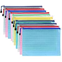 Pack of 10 Mesh Document Bag A3 Size Durable Plastic Zipper File Wallet Rope Hook Design for Paperwork Documents