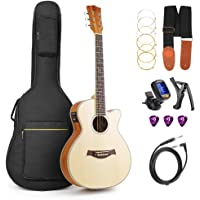 Guitar Acoustic, Cutaway Acoustic-Electric Guitar 36 Inch 3/4 Acoustic Guitars Beginner Kit with Guitar Extra Strings Strap Capo Picks Cable Gig Bag, by Vangoa
