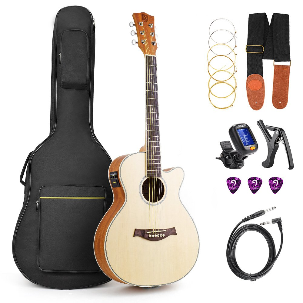 Vangoa 36 Inch 3/4 Acoustic Electric Cutaway Guitar Folk Guitar Spruce wood Travel Guitar, 3 Band EQ with Truss Rod, Capo, Tuner, Extra Strings, Guitar Cable, Picks, Strap and Gig Bag