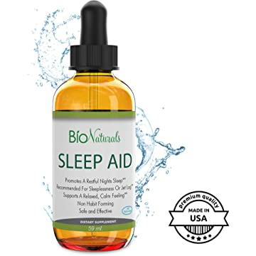 mini Liquid Melatonin Sleep Aid by Bio Naturals - 100% Pure Sleeping Supplement with Inositol & L-Theanine Reduces Stress & Anxiety