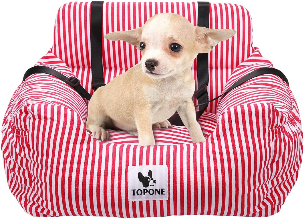Dog Car Seat,Dog Booster Seat for Small and Medium Dogs Cats,Pet Lookout Seat Travel Striped Carrier with Storage Pocket Safe Belt for Cars SUVs Truck-Up to 30l bs