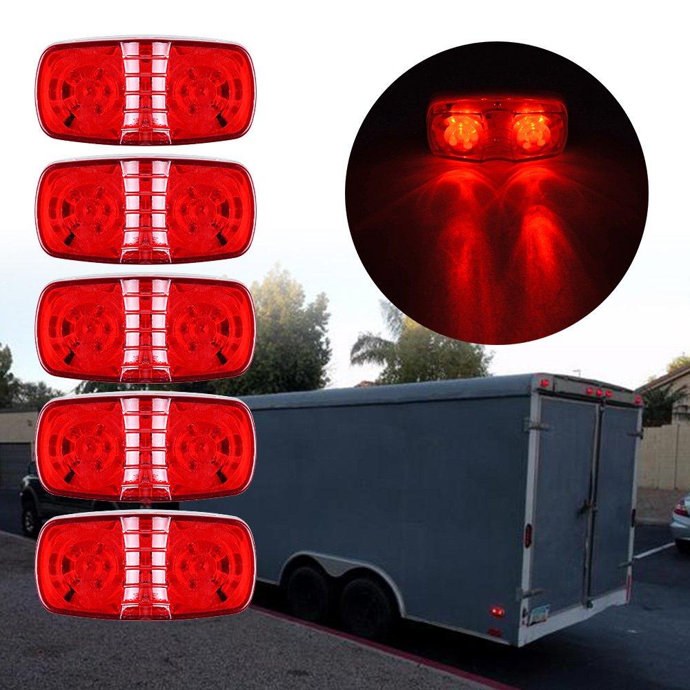 7x Red + 7x Amber 12-LED Side Marker Clearance Light Sealed 12V-24V for Trailer Bus Pickup Truck Lorry 14pcs