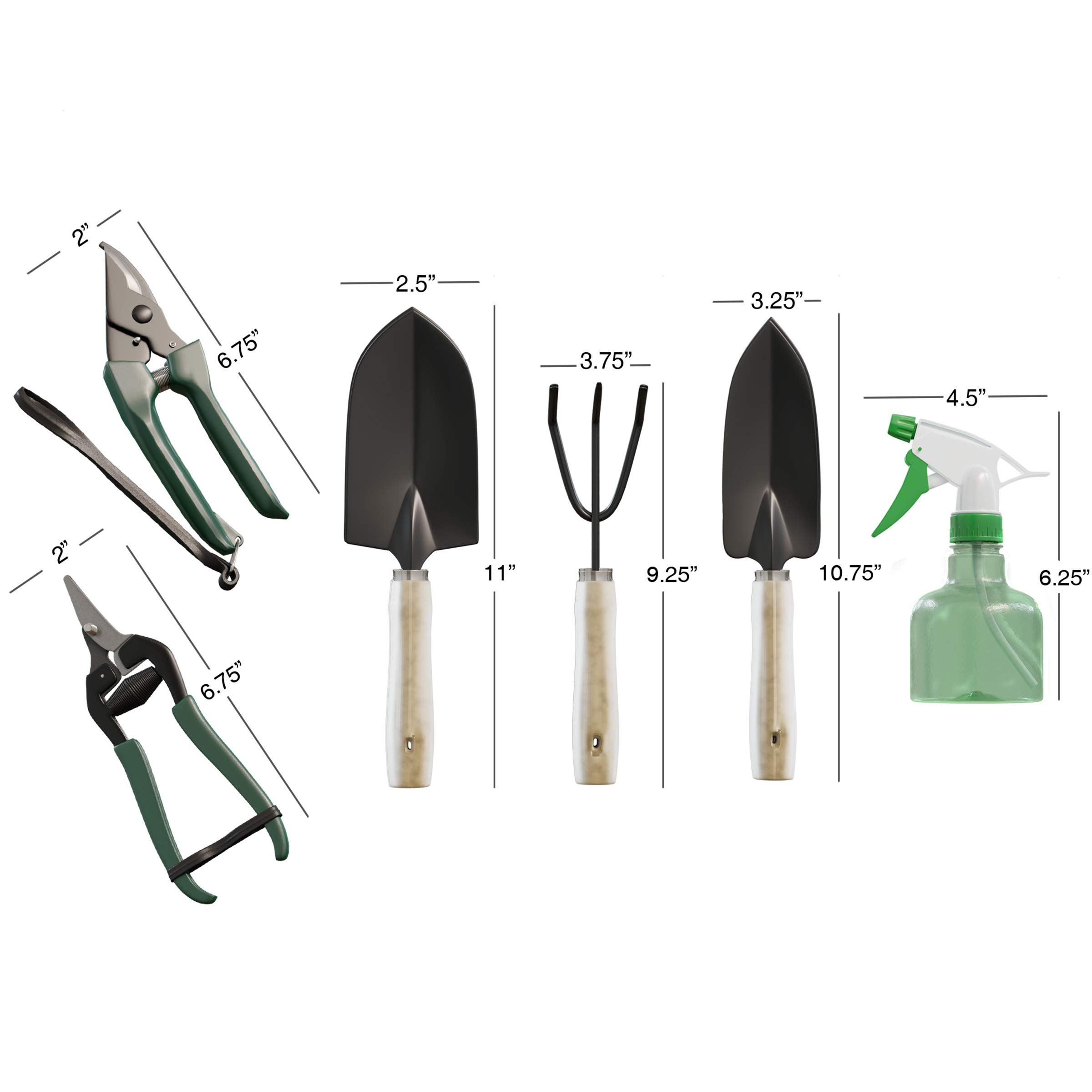 Pure Garden 8 Piece Garden Tote and Tool Set- Gardening Hand Tools and Supply Essentials Kit Includes Storage Bag, Rake, Shovel, Trowel, More by Pure Garden (Image #3)