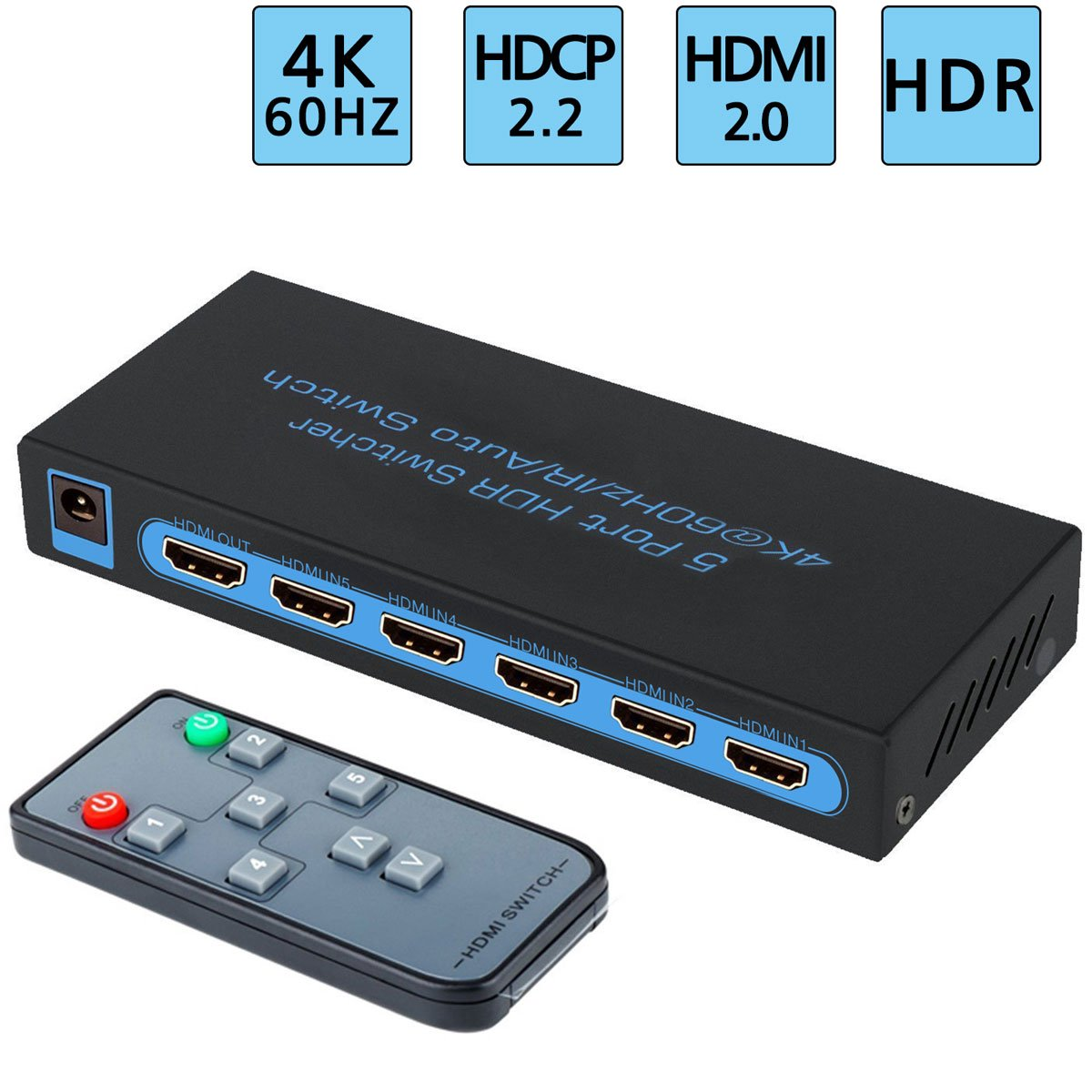 Amazon.com: 4K@60Hz HDMI Switch 5x1,FiveHome 5 Port HDMI Switcher