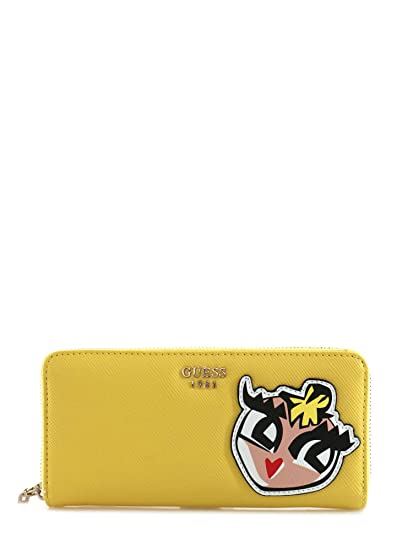 Guess Pin Up Pop Slg wallet Large Zip Around Lemon: Amazon.es: Ropa y accesorios
