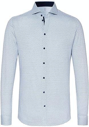 DESOTO 37507-3 - Camisa de manga larga para hombre con cuello de tiburón, no necesita planchado
