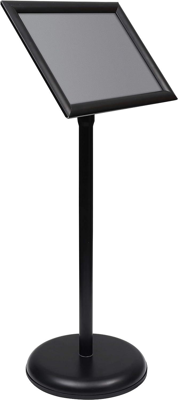 Soporte Para Cartel - A4 Negro Atril Expositor - Soporte Para Letreros Aluminio - Atril de Pie Pedestal con Ajustable Macro y Base Rellenable con Agua Para Exhibiciones, Restaurantes, Oficina