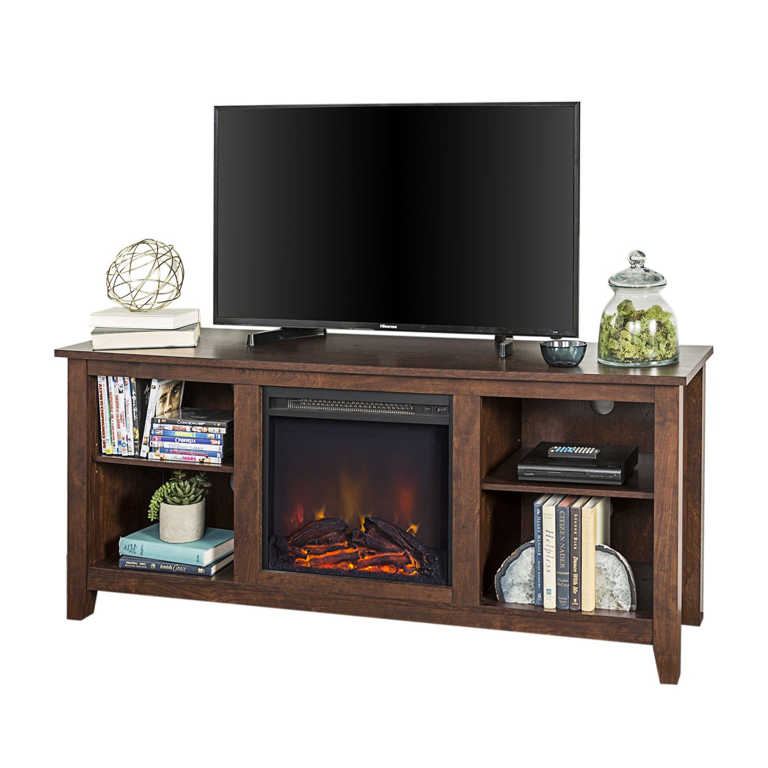 Walker Edison Furniture Company 58 Traditional Farmhouse Electric Fireplace TV Stand in Brown