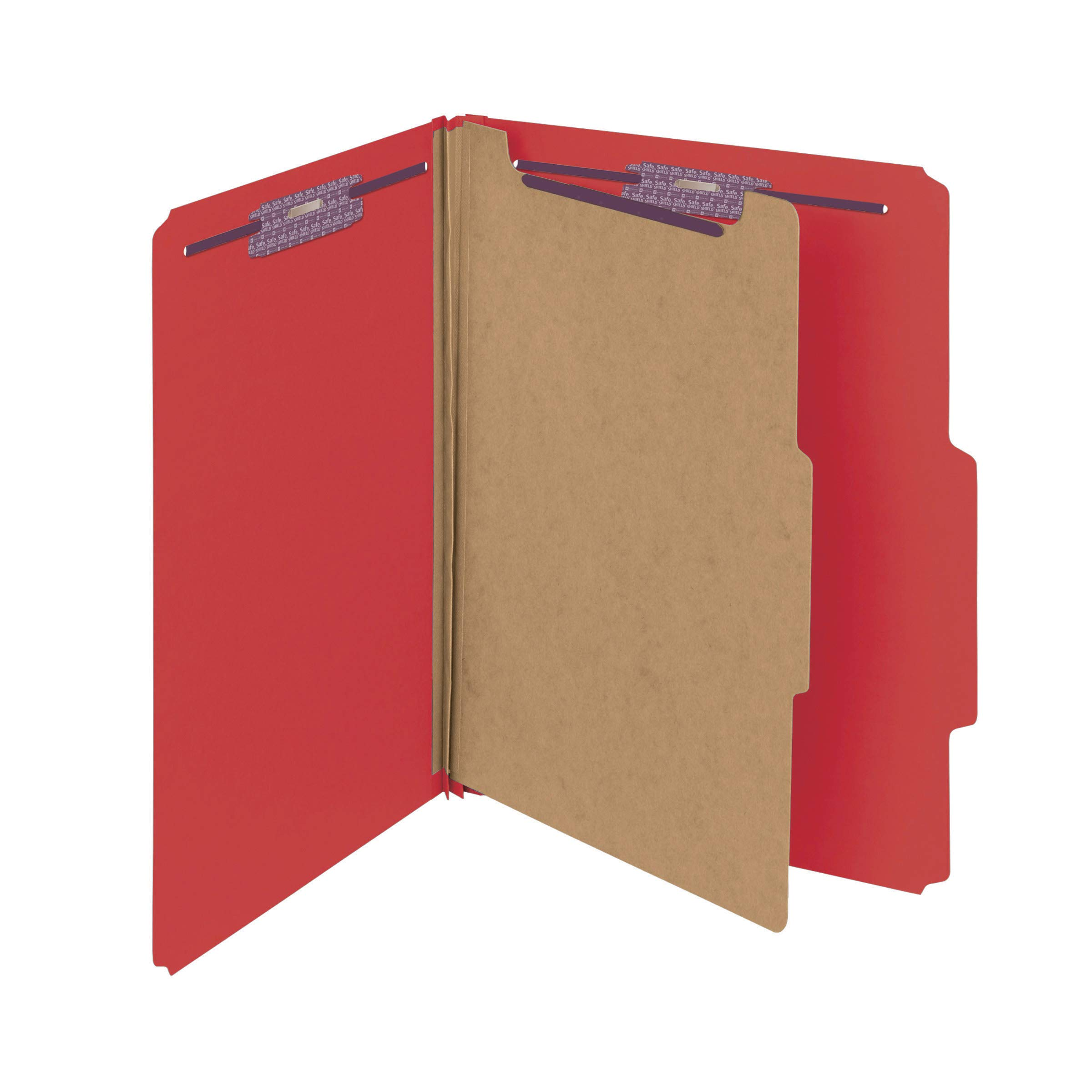 Smead Pressboard Classification File Folder with SafeSHIELD Fasteners, 1 Divider, 2'' Expansion, Letter Size, Bright Red, 10 per Box (13731)