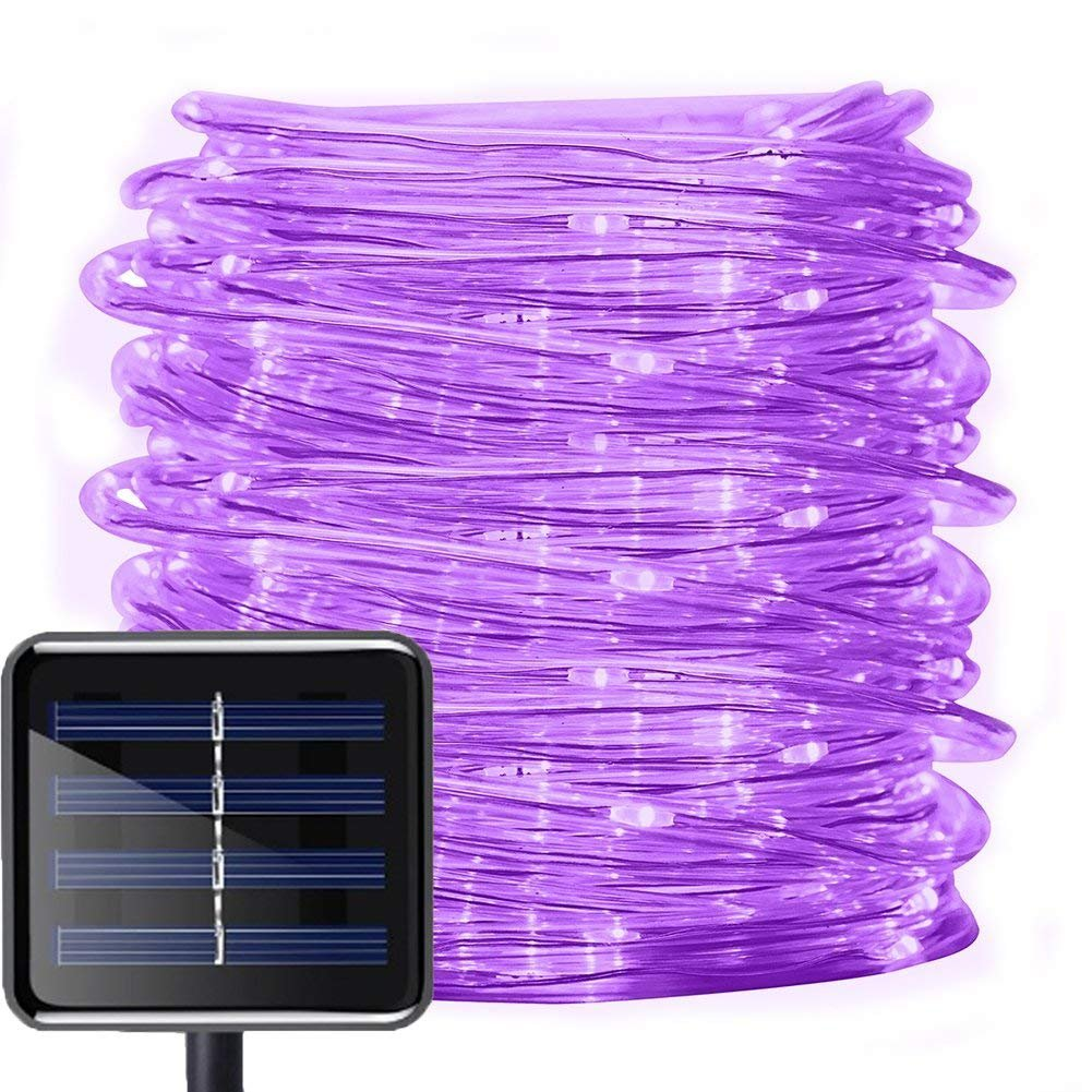 Solar Rope Lights Outdoor,WONFAST 39ft 100LED LED Rope Lighting Waterproof Copper Wire Rope String Light for Christmas Home Garden Patio Parties Decor(Purple)