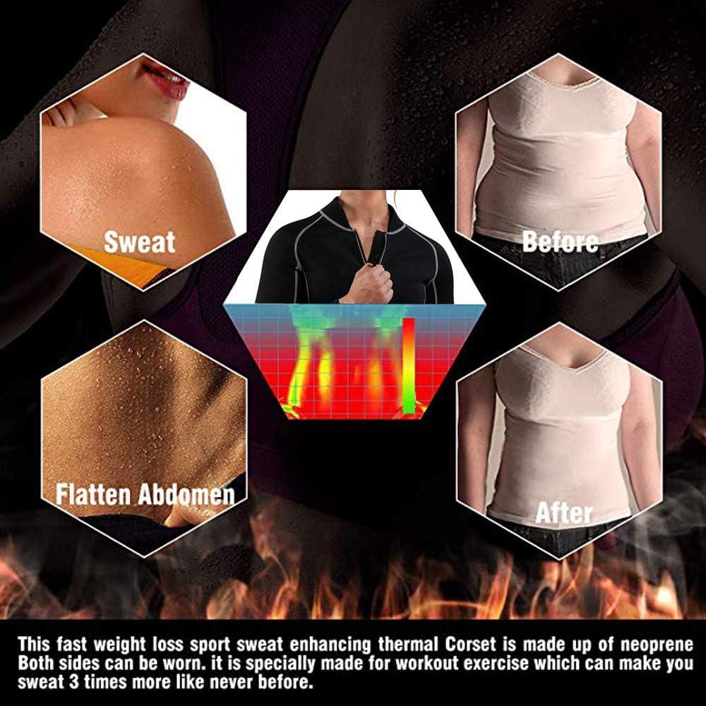 Shujin Damen Hot Neopren Workout Sauna Schwitzt Langarmshirt mit Rei/ßverschluss Shapewear Waist Trainer Schwitzanzug K/örperformer f/ür Gewicht Loss Figurformender