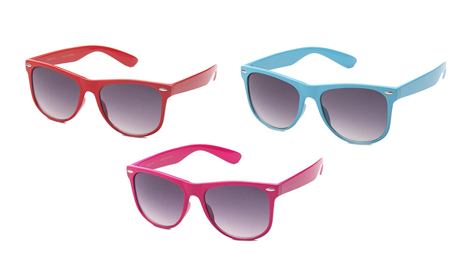 3 Pack 80's Classic Blue Brothers Solid Neon Color Oversized Wayfarer Styles Vintage Retro Fashion Sunglasses