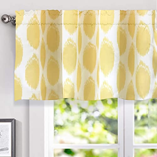 DriftAway Allen Circle Ikat Polka Dot Pattern Classic Window Curtain Valance for Living Room Bedroom Kitchen Rod Pocket 52 Inch by 18 Inch plus 2 Inch Header Yellow