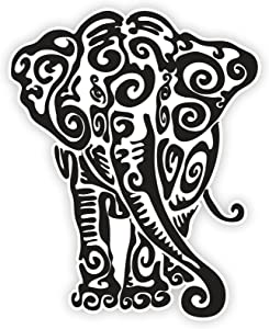 Decal Stickers Vinyl Elephant Car Window Wall Art Decor Doors Helmet Truck Motorcycle Note Book Mobile Laptop Glass Size: 4 X 3.2 Inches Black