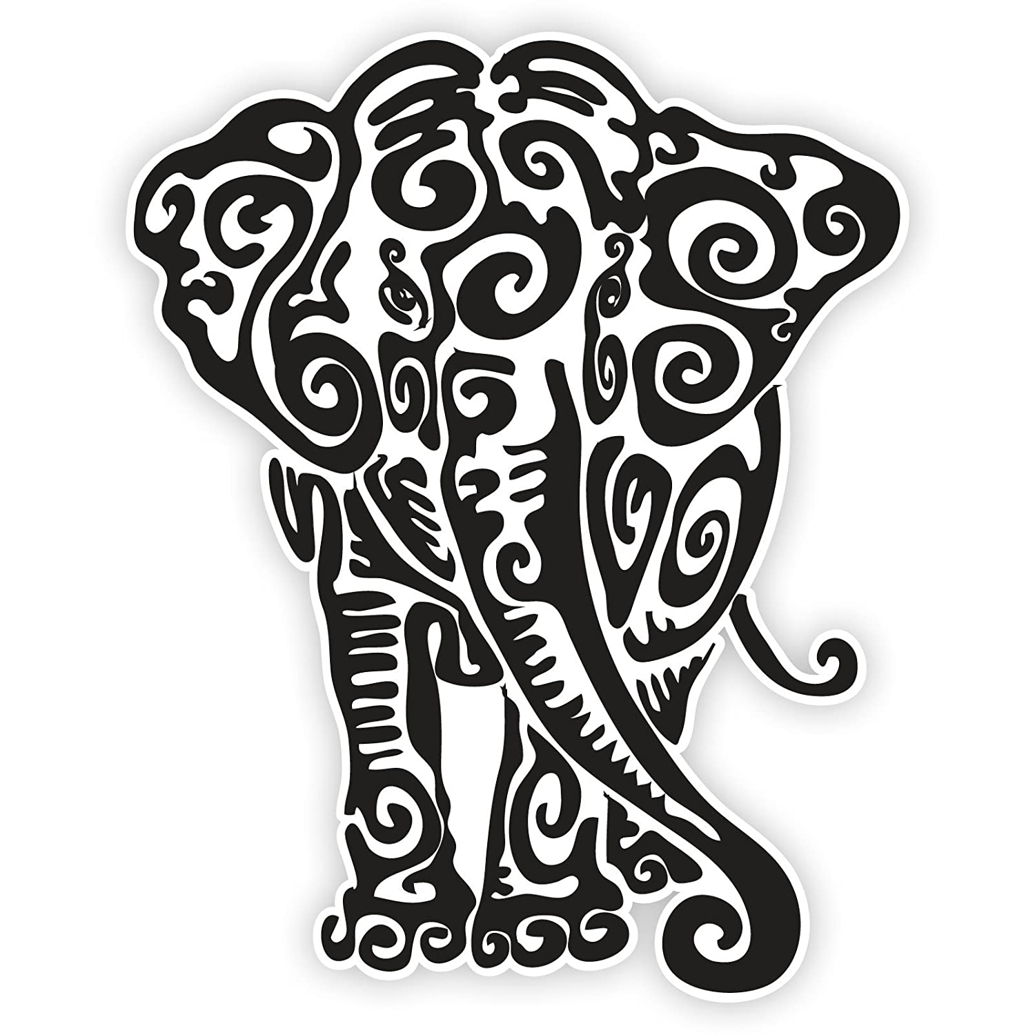 Decal Stickers Vinyl Elephant Car Window Wall Art Decor Doors Helmet Truck Motorcycle Note Book Mobile Laptop Glass Size 4 X 3.2 Inches Black