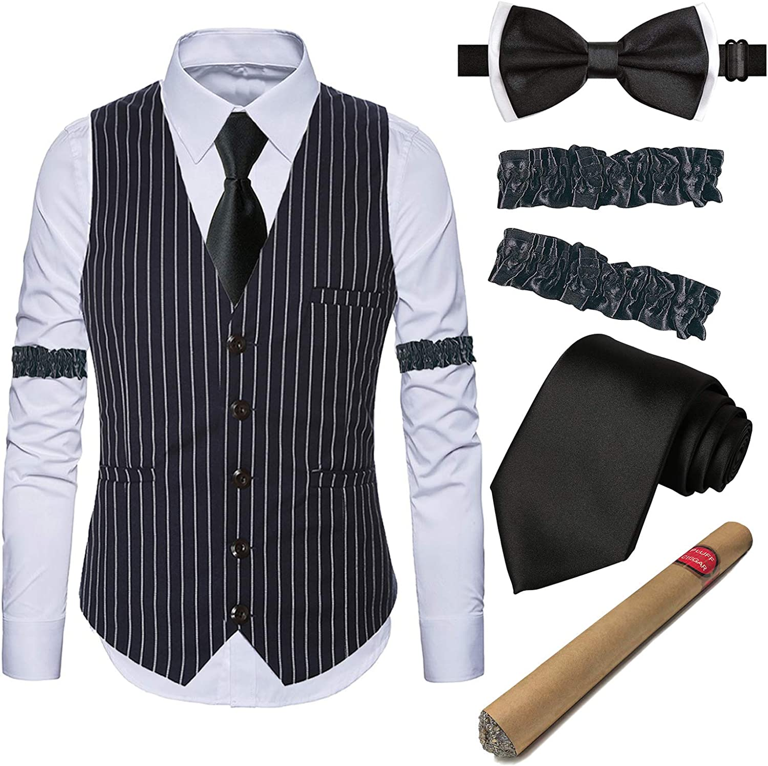 1920s Gatsby Costume Accessories for Mens Gangster Stripe Vest,White Dress Suit Shirt /& Armbands,Toy Fake Cigar,Tie,Pre-Tie