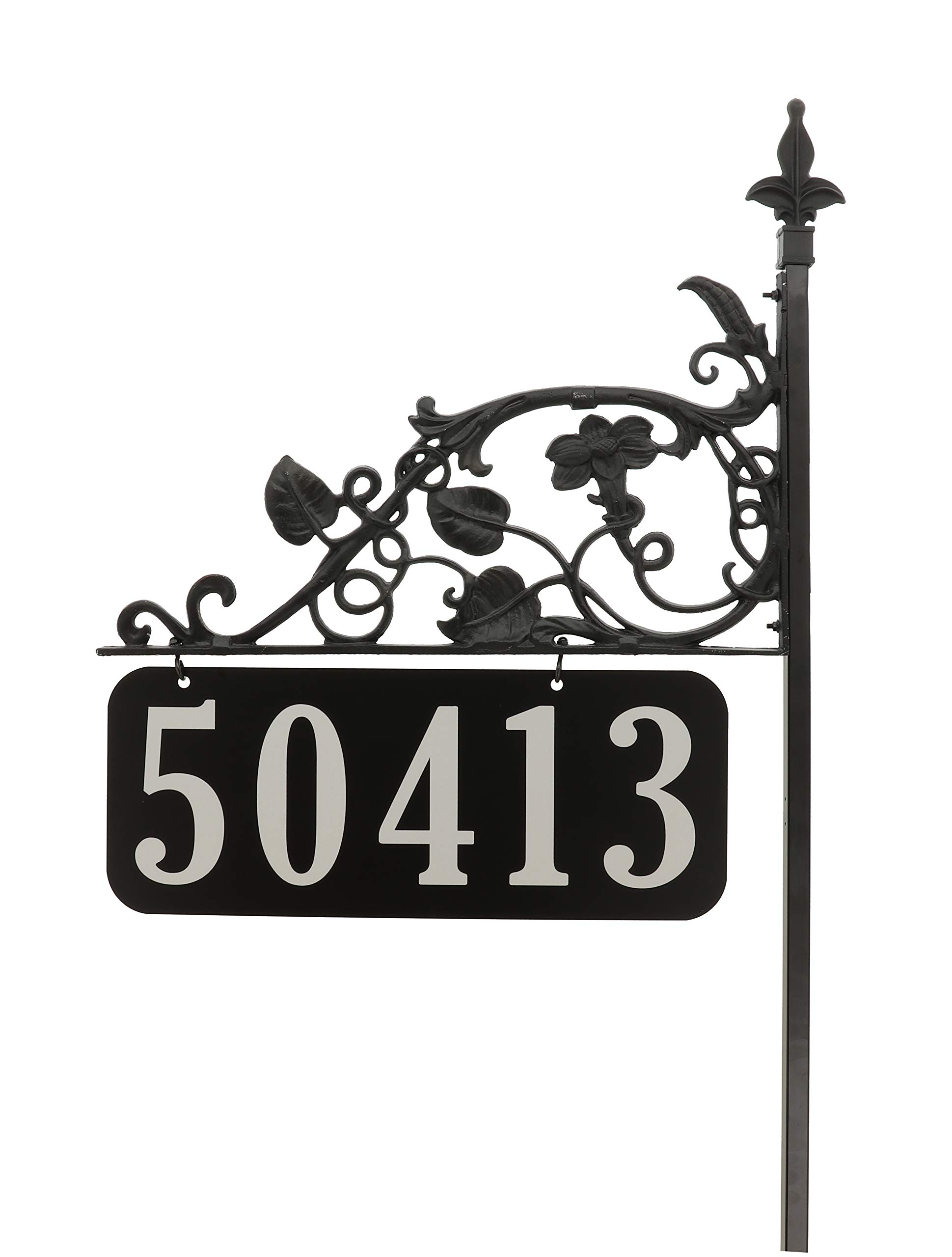 Magnolia All Metal Premium Reflective Address Sign 58'' Post Large 6'' Numbers on Both Sides