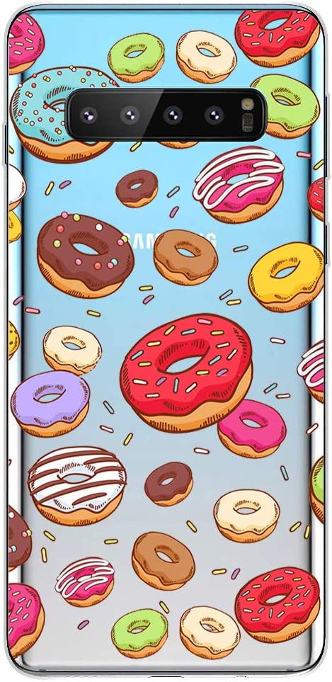 Samsung Galaxy S10 Plus Case,Blingy's New Fun Food Style Transparent Clear Soft TPU Protective Rubber Case for Samsung Galaxy S10 Plus (Various Donuts)