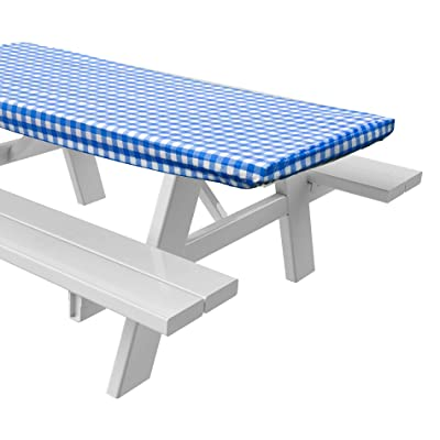 "Sorefy Vinyl Picnic Table Fitted Tablecloth Cover, Checkered Design, Flannel Backed Lining, 28 x 72 Inch (72"", Blue) : Garden & Outdoor"
