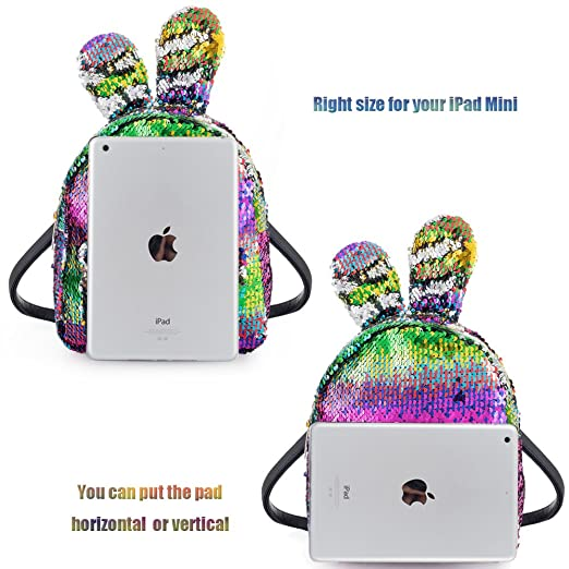 Amazon.com | Women Girls Fashion Cute Rabbit Ears Backpack Sequins Shoulder Bag Schoolbag Travel Daypack (Colorful & Silver) | Kids Backpacks