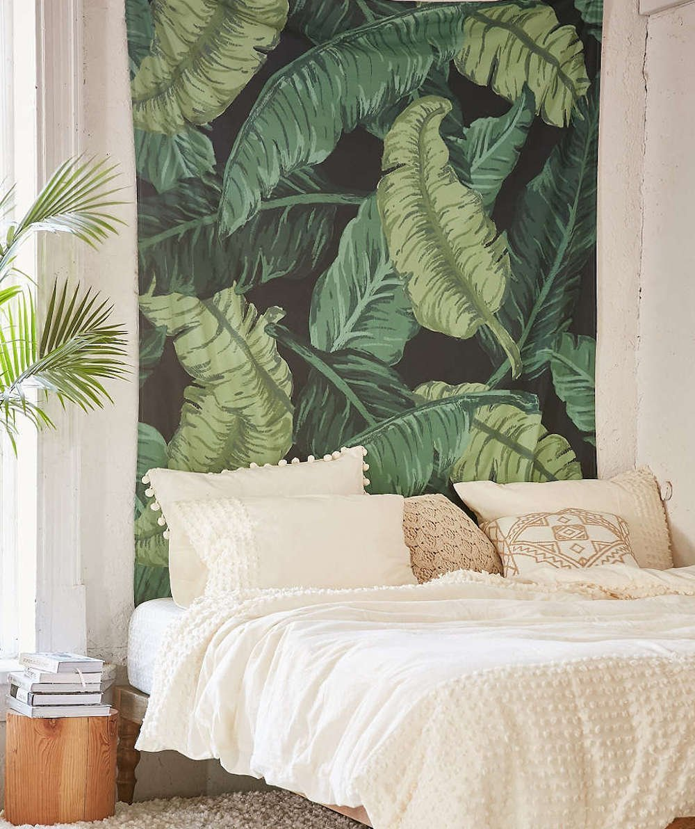 Banana Leaf Wall Hanging Tapestry Fabric Wallpaper Home Decor,60x 80,Twin Size 60x 80 flber