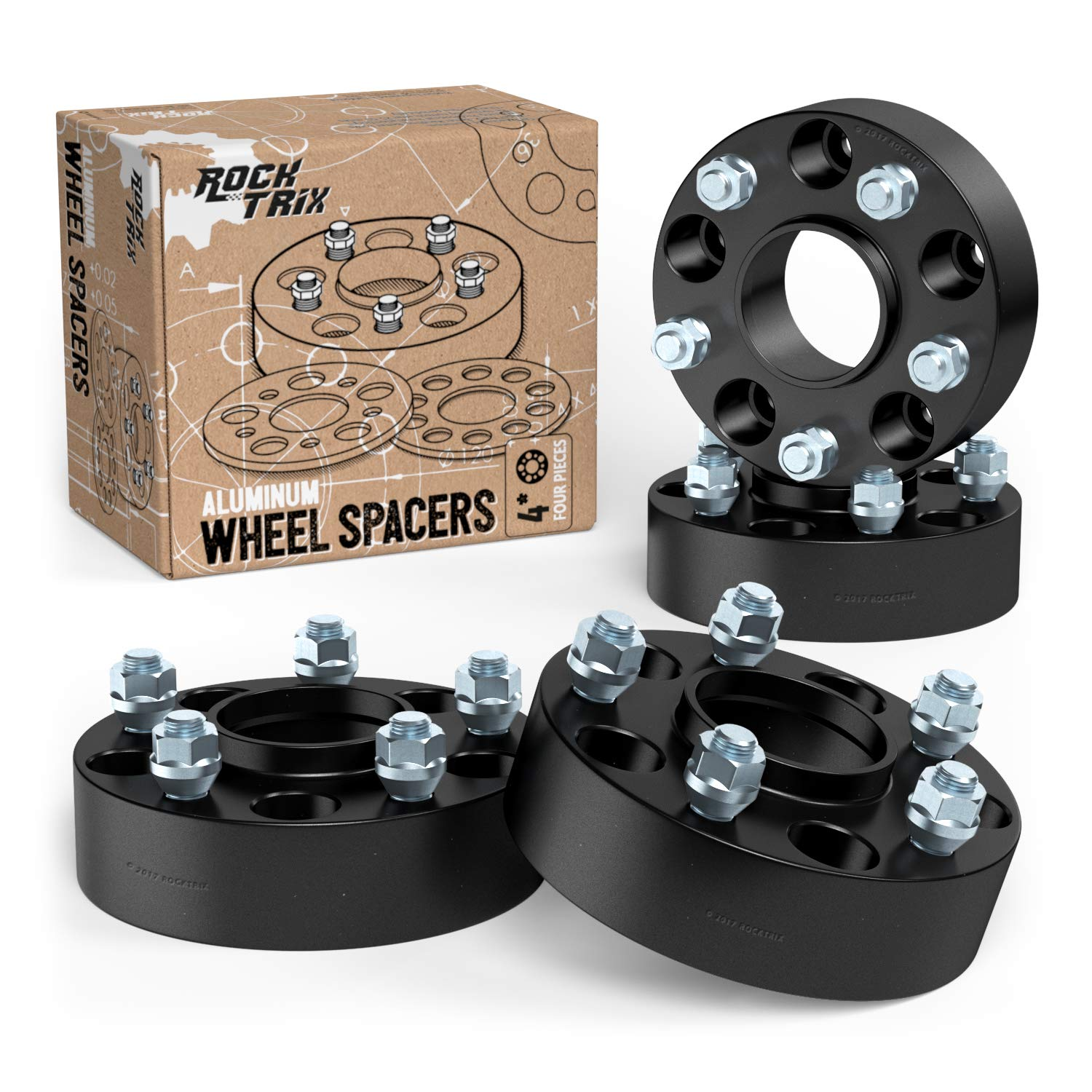 RockTrix 1.5 inch Hubcentric 5x5 to 5x5 Wheel Spacers (71.5mm Bore, 1/2x20 Studs) Compatible with Jeep 99-10 Grand Cherokee WJ WK, 07-18 Wrangler JK JKU, 06-10 Commander XK - Black 38mm 5x127 4pcs by RockTrix