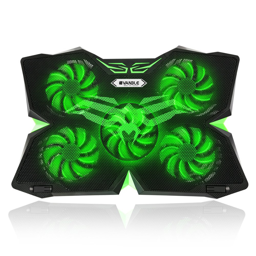 Vanble 5 Fans Gaming Laptop Cooling Pad for 12''-17'' Laptops with LED Lights, Dual USB 2.0 Ports, Adjustable Height at 1400 RPM, Green - Fan and Light can be Adjusted Independently