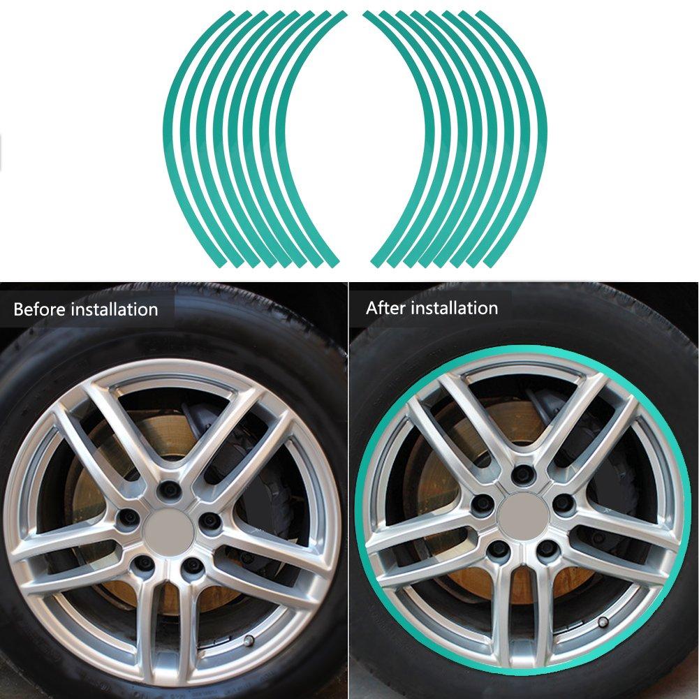 Verde fluorescente Elerose Ribete de borde de raya de 16 ruedas Adornos para autom/óviles de 16-19 pulgadas ruedas de bicicleta y motocicleta