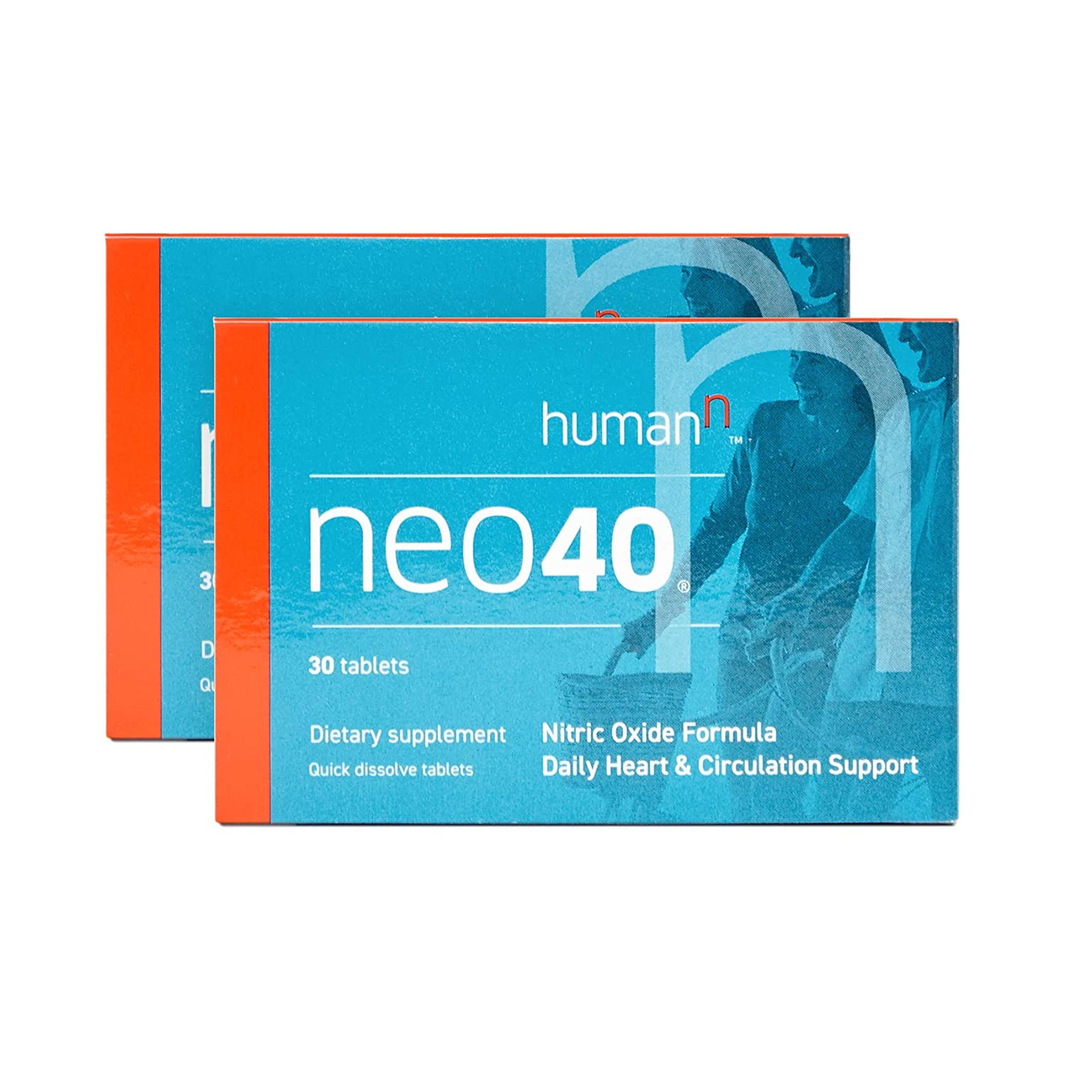 HumanN Neo40 Daily Heart and Circulation Support Nitric Oxide Boosting Supplement 30 Tablets, 2-Pack