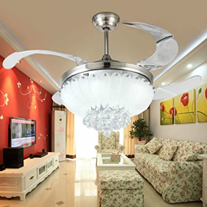 Lighting Groups 42 Inch LED Ceiling Fans Crystal Light Dining Room Living  Room Fan Drop Lights Modern ...