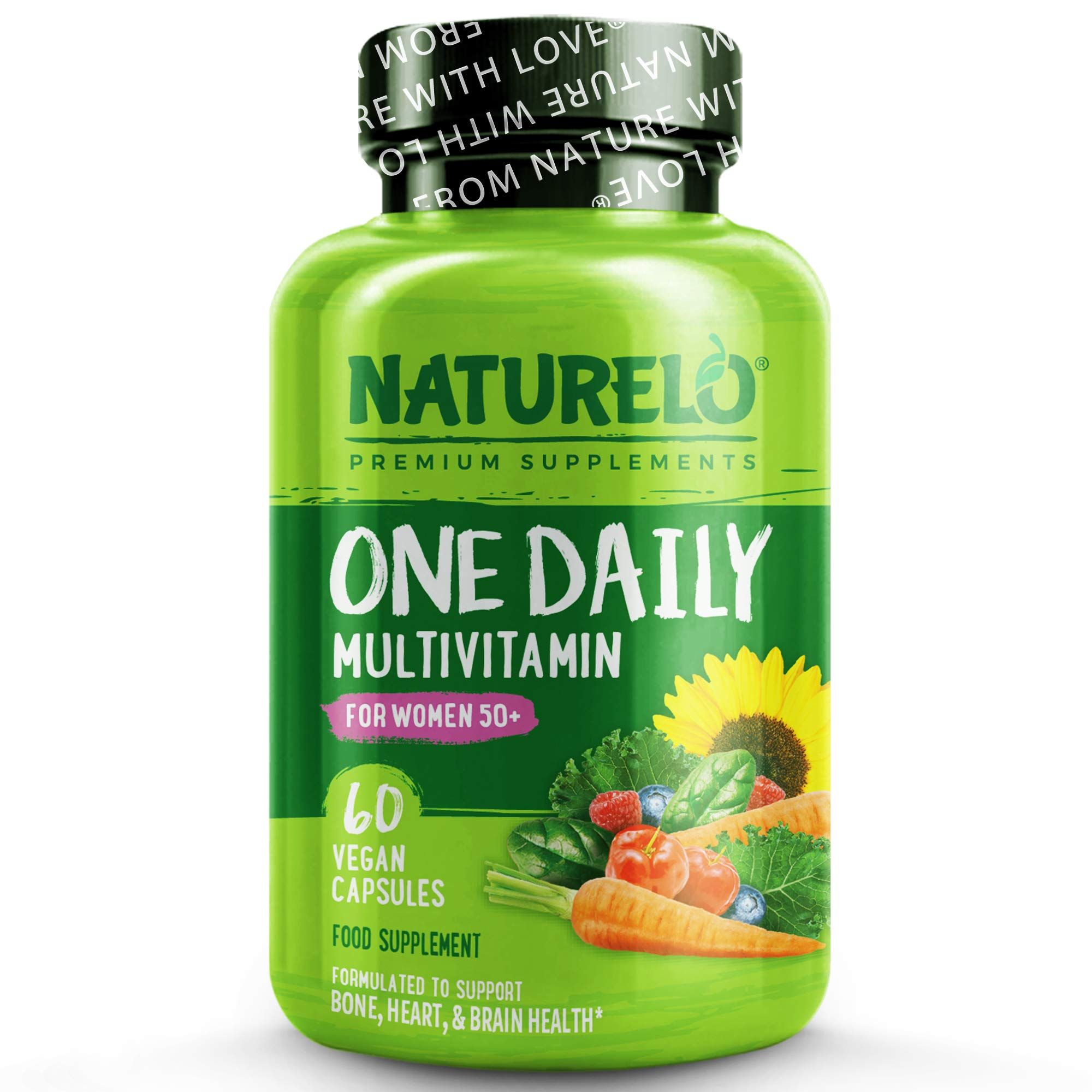 NATURELO One Daily Multivitamin for Women 50+ (Iron-Free) - with Natural Food-Based Vitamins, Fruit & Veg Extracts - Best for Health in Women Over Fifty - Non-GMO - 60 Vegan Capsules | 2 Month Supply