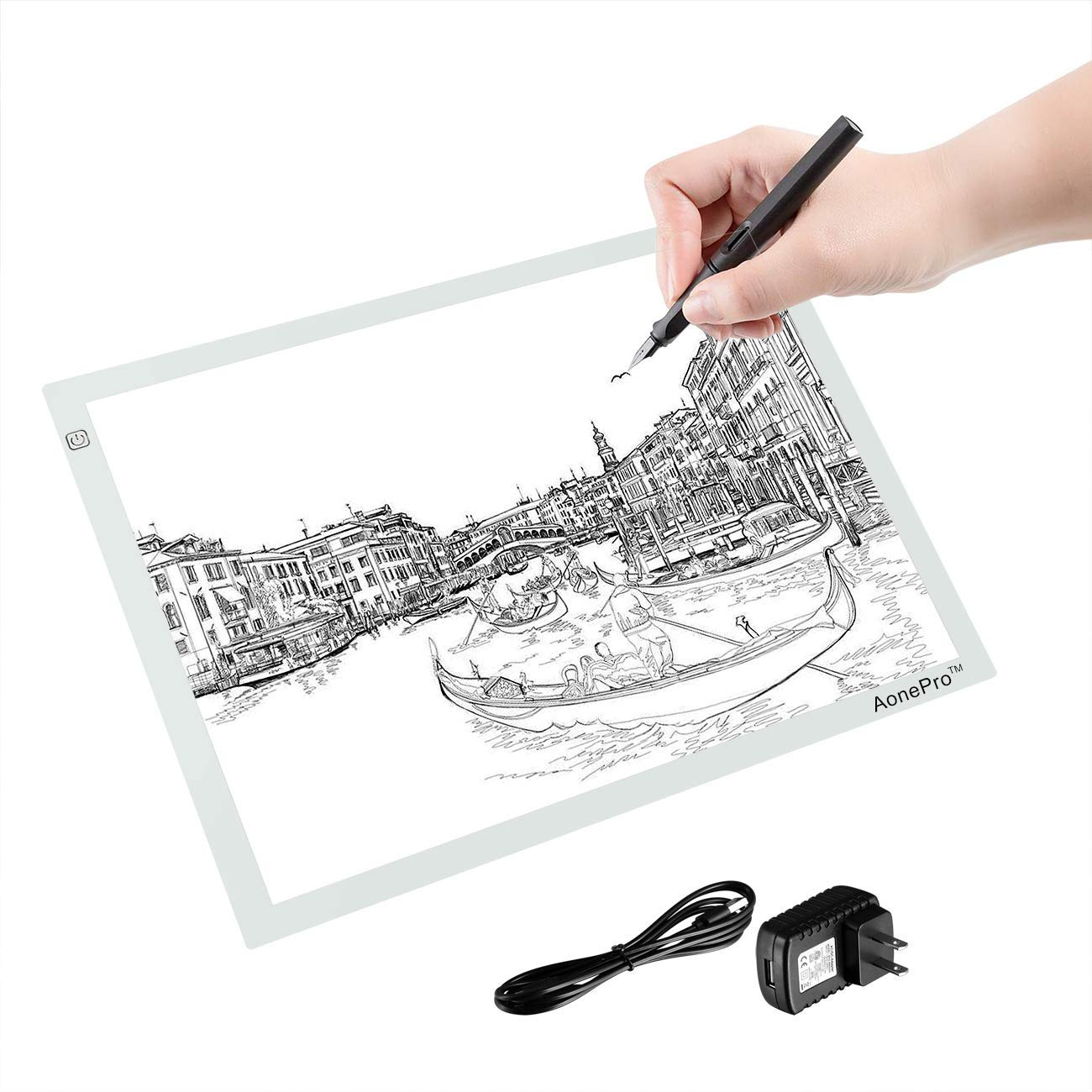 A3 LED Light Box Tracing Pad USB Powered Ultra-Thin 19 inch Drawing Light Pad for Tattoo Drawing, Stencil, Sketching - White by Aonepro