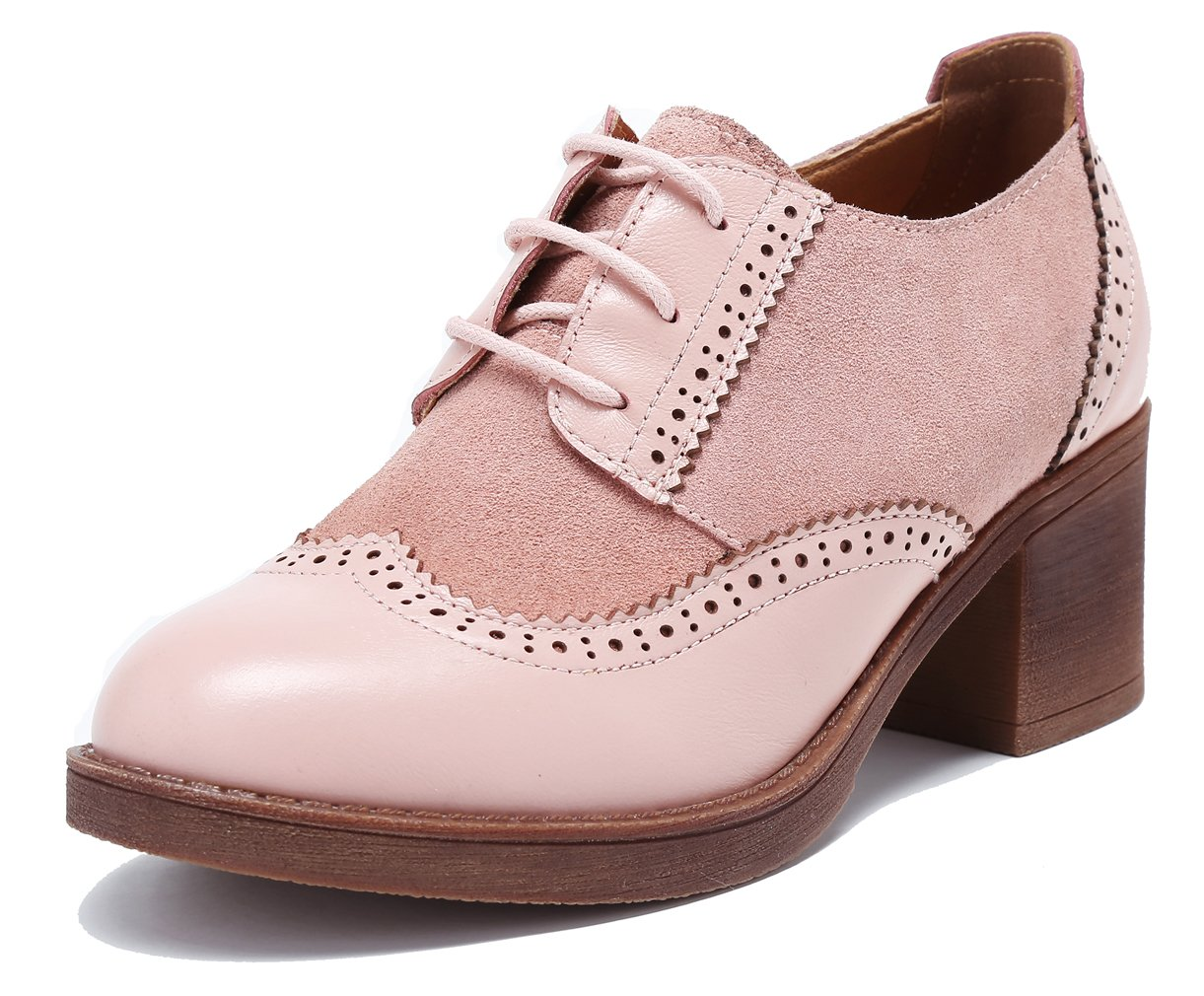 U-lite Womens Perforated Lace-up Round-Toe Brouge Shoes, Pieced-up Suede Leather Pump Summer Oxfords Pink7