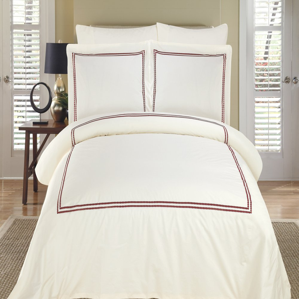 Luxurious 8 Piece King Size Maya Ivory & Burgundy Embroidered BED IN A BAG Set. IncludesDuvet CoverSet + 100% Egyptian Cotton Bed Sheet Set + DownAlternativeComforter