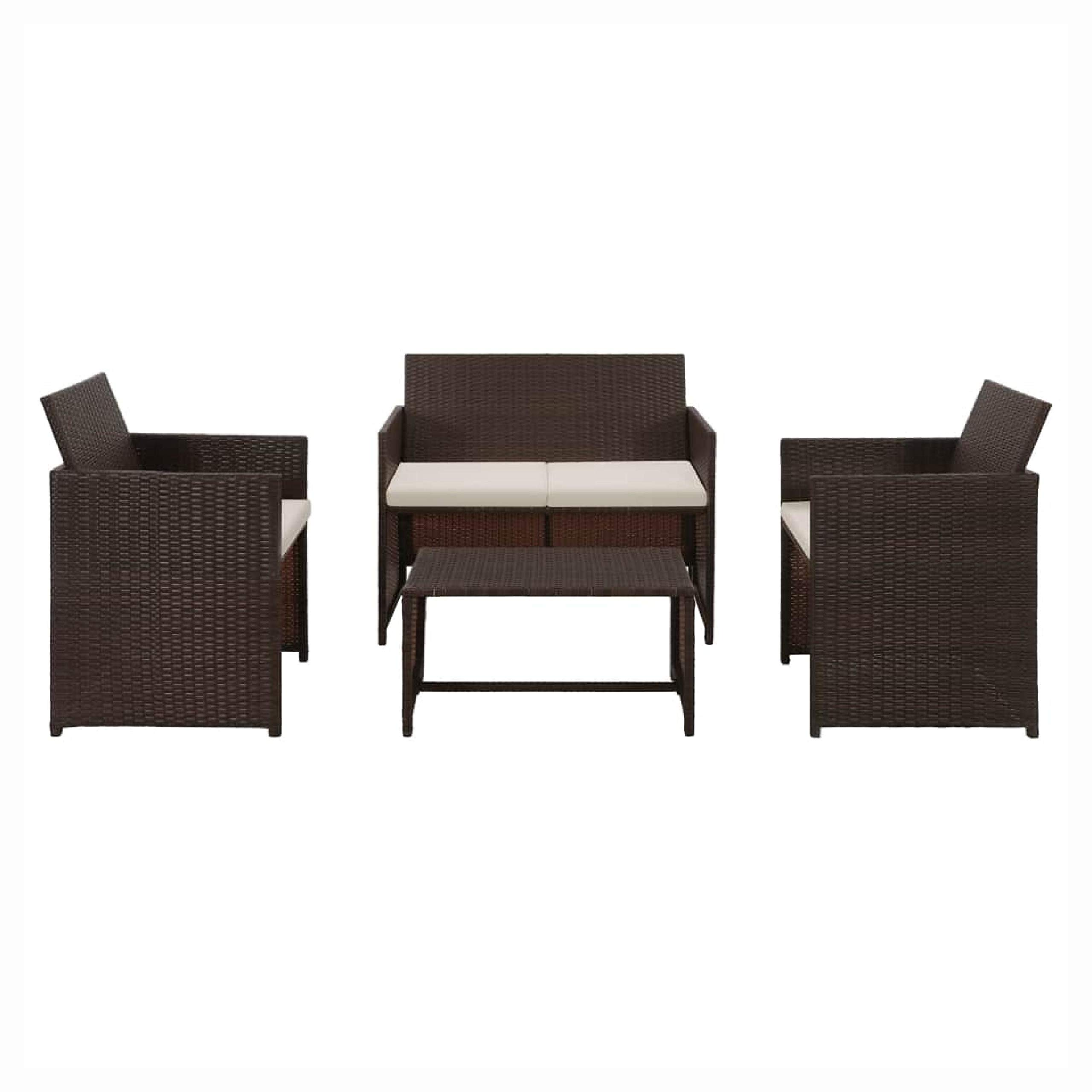 HEATAPPLY Outdoor Furniture Set, 4 Piece Garden Lounge with Cushions Set Poly Rattan Brown by HEATAPPLY