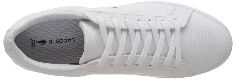 Amazon.com   Lacoste Mens Lerond BL 2 Canvas Lace Up Trainer White   Fashion Sneakers