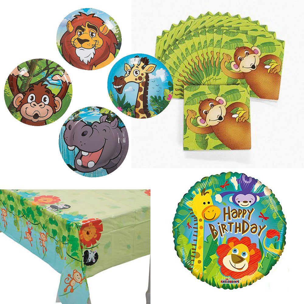 Razzle Dazzle Celebrations 02 Zoo Animals Birthday Party Supplies, 16 guests, small plates, napkins, tablecover, balloon