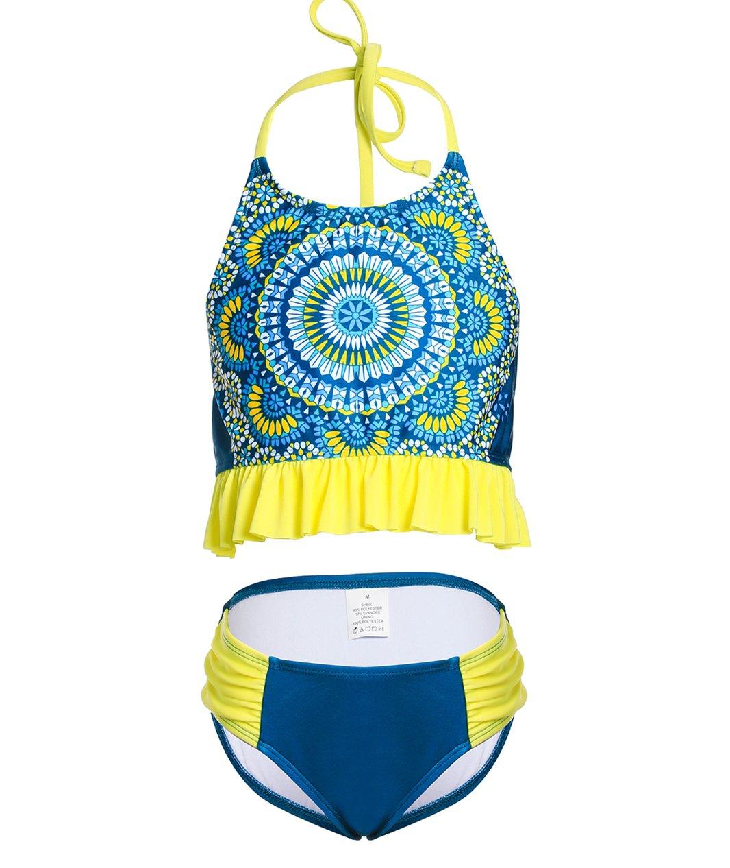 BELLOO Girl Ruffled Hem Bikini Bathing Suit Halter Two Piece Swimwear,(Large)10-12
