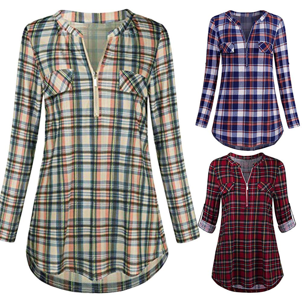 Bravetoshop Women Casual 3/4 Rolled Sleeve Plaid Shirt V-Neck Zipped Front Tunic (Purple, S) by Bravetoshop Women (Image #4)