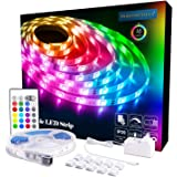 PANGTON VILLA LED Strip Lights, 16.4ft RGB 5050LEDs Color Changing Full Kit with 24key Remote Control and Power Supply…