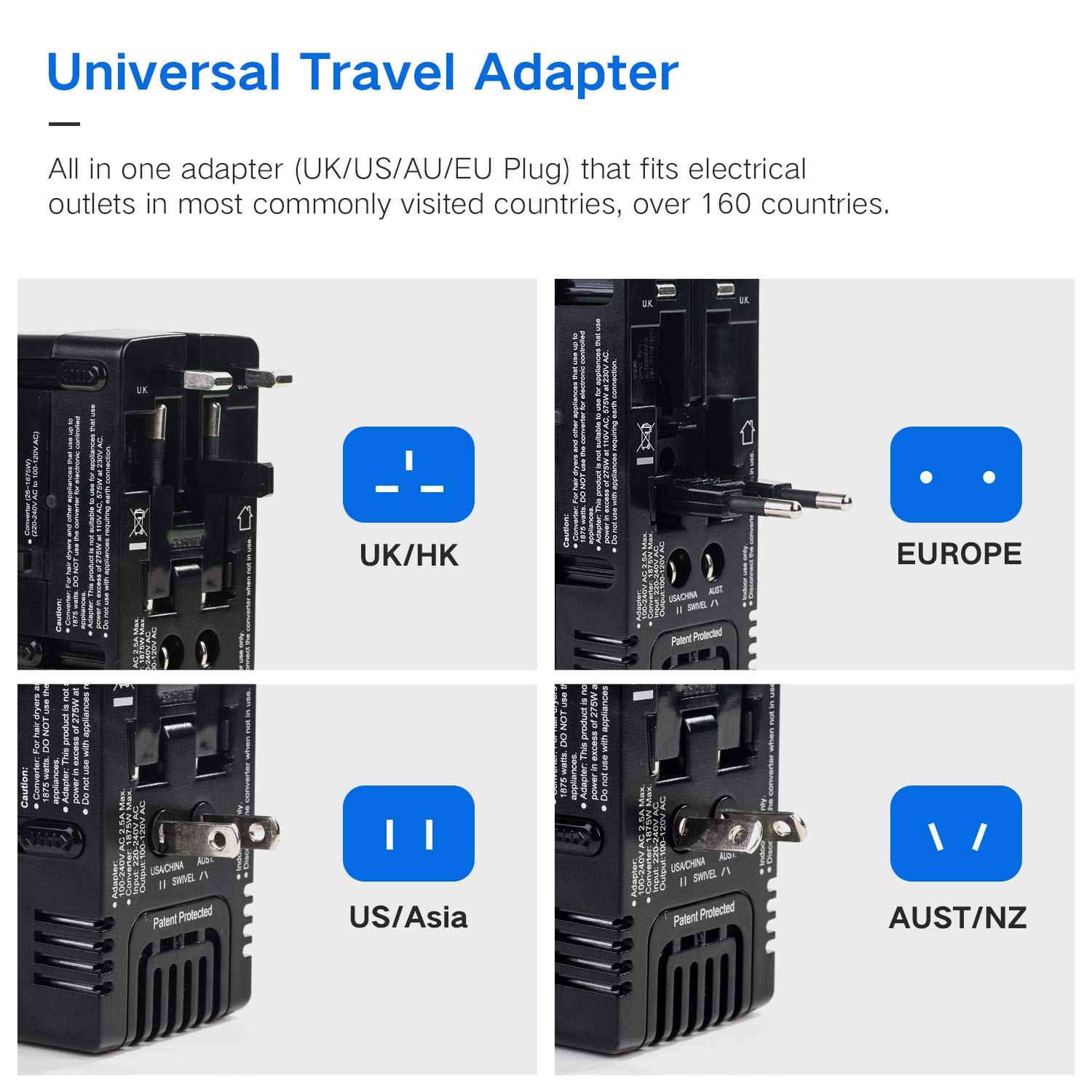 TryAce 2019 Upgraded All-in One 2000W Travel Adapter International Power Adapters Universal World Voltage Converter Set Down 220V to 110V for US to UK AU EU Worldwide Plug Over 200 Countries