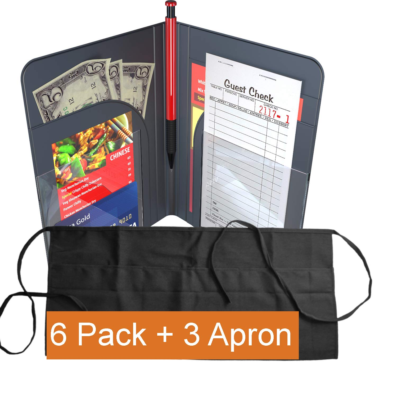 Waiter Book Server Wallet Server Pads Waitress Book Restaurant Waitstaff Organizer, Guest Check Book Holder Money Pocket (6 Pack + 3 Apron (Black))
