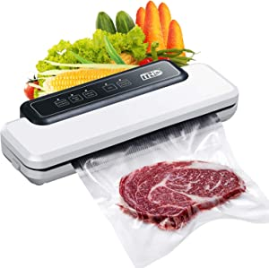 Vacuum Sealer Machine with Bags, TNO Automatic Food Sealer Machine for Food Storage and Preservation with Dry&Moist Modes for Sous Vide, Led Indicator Lights& Started Kit of Rolls&Hose for Home&Commercial Use
