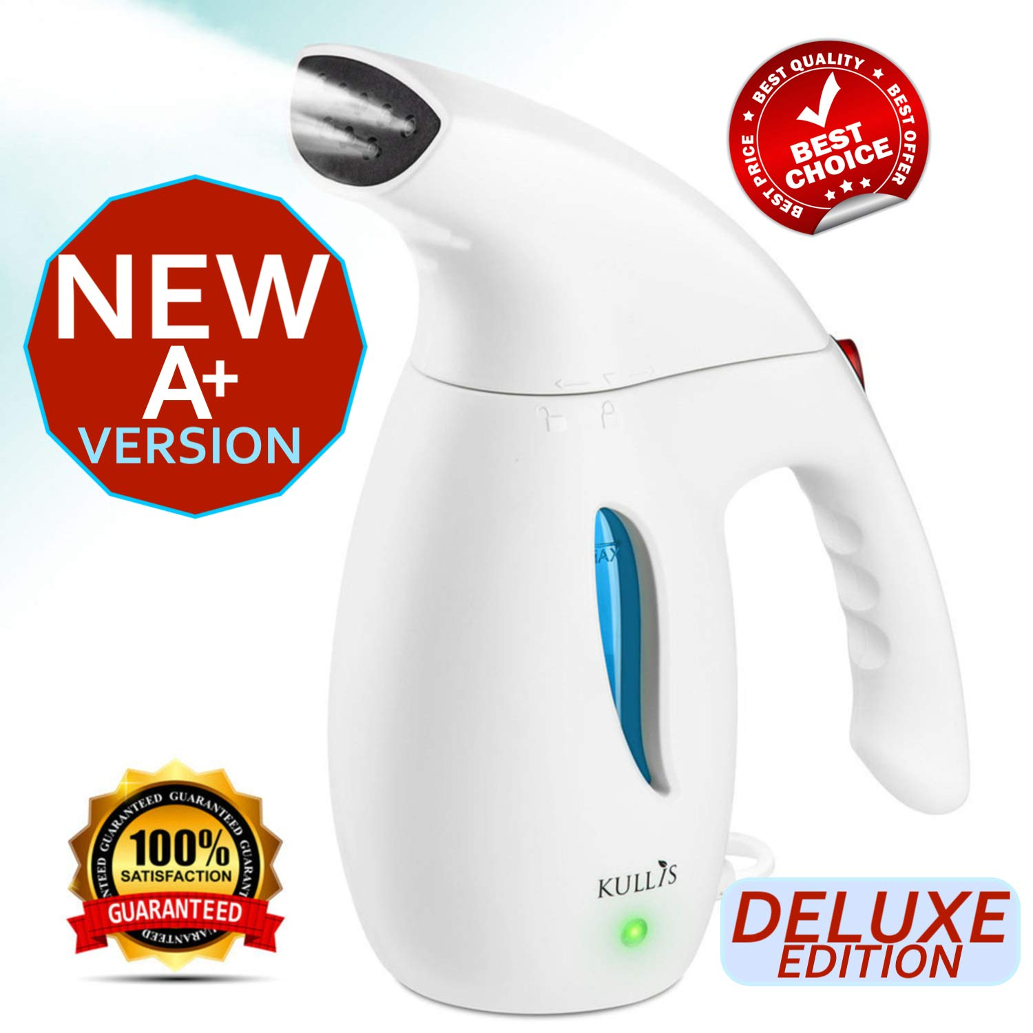 KULLIS Premium [New-Upgraded] - Premium Steamer for Clothes, Clothes Steamer, Portable Handheld Clothing Steamer. 8-in-1 Hand Travel Fabric Steamer, Home Wrinkle Remover, Garment Iron Steamer