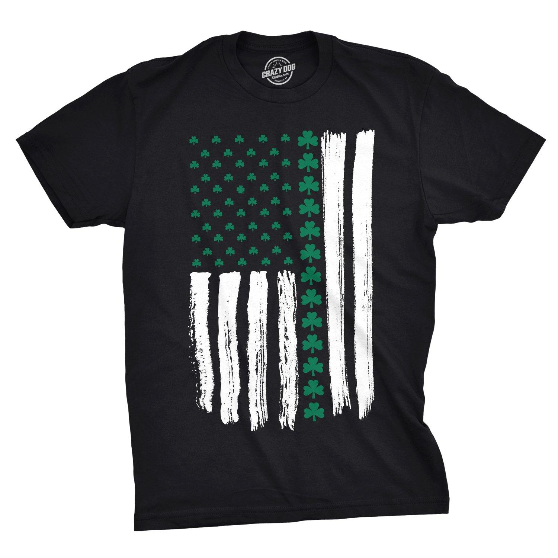bc34919084 Amazon.com: Crazy Dog T-Shirts Mens Shamrock USA Flag Tshirt Cute Irish  American 4th of July Tee for Guys: Clothing