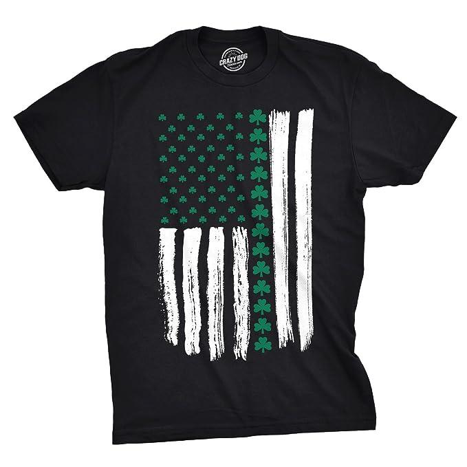 501d2874e4 Crazy Dog T-Shirts Mens Shamrock USA Flag Tshirt Cute Irish American 4th of  July