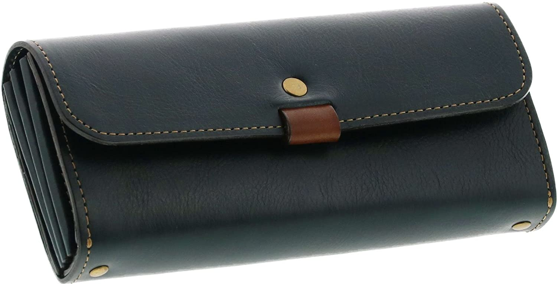 [ HALEINE ] 長財布 牛革 レザー 本 革 レディース 日本製 フラップ かぶせ B075WTNBB3 スモークブルー スモークブルー -