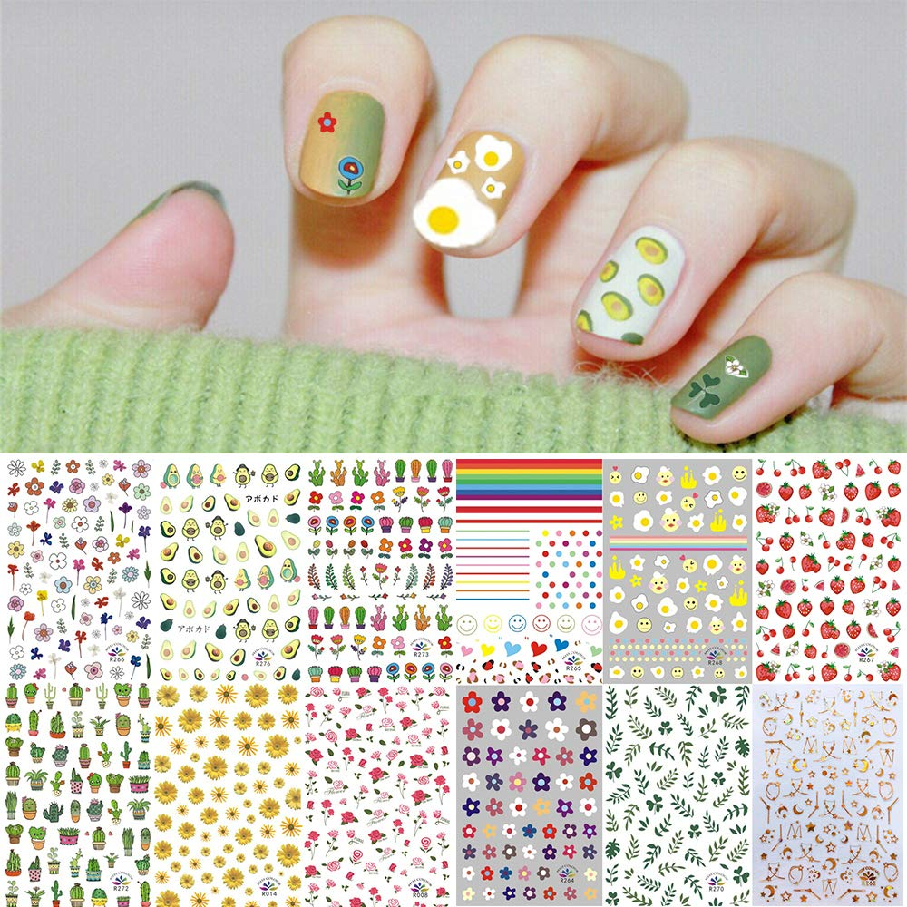 1000+ Patterns Nail Art Stickers Decals for Women Kids, Kalolary 3D Self-Adhesive Spring Stickers Flower Fruit Plant Stars Moon Smiling Face for Girls Manicure Salon Gift for Women Girl(12 Sheets)